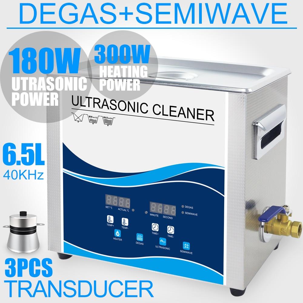 Ultrasonic Cleaner Bath 6.5L 180 W/90 W SEMI Função Aquecida Degas 40 KHZ Ultrasound ONDA Talheres Limpo Eletrônico máquina de lavar
