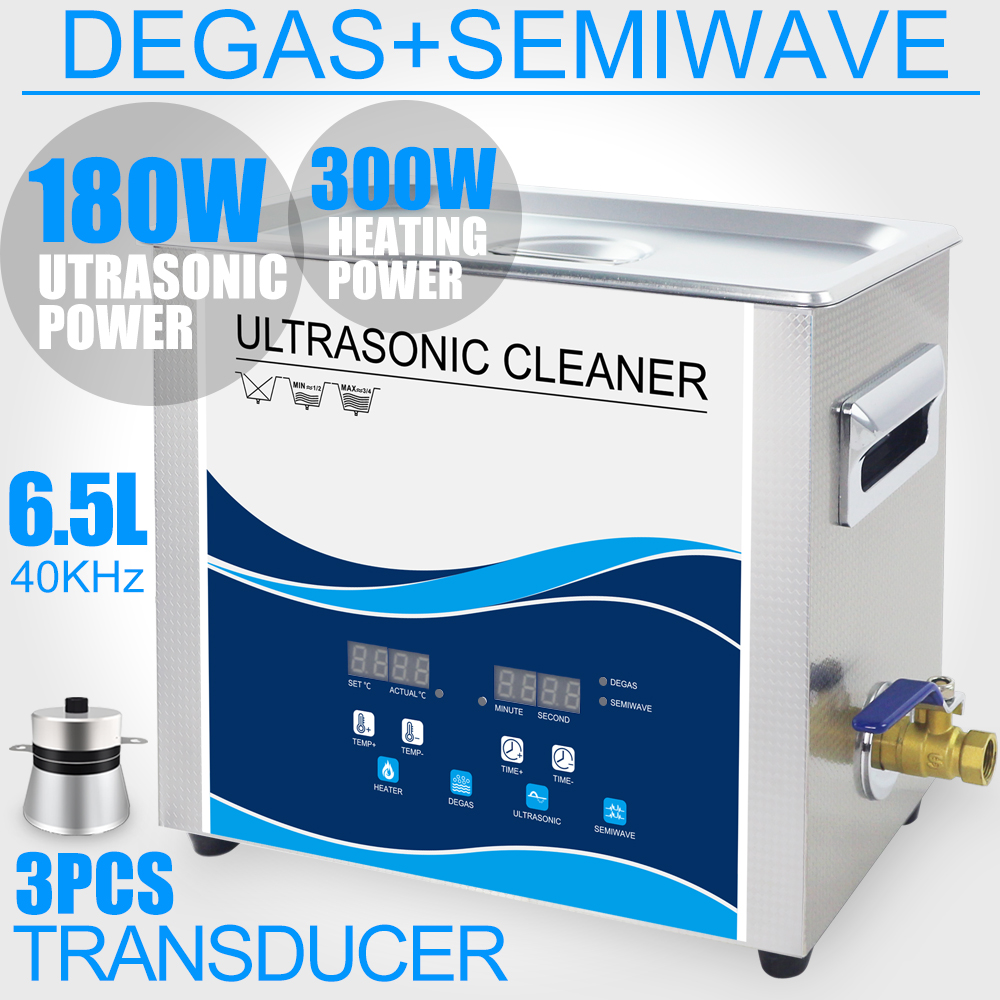 Ultrasonic Cleaner Bath 6.5L 180W/90W SEMI WAVE 40KHZ Degas Heated Function Ultrasound Cleaner Electronic Tableware Washer