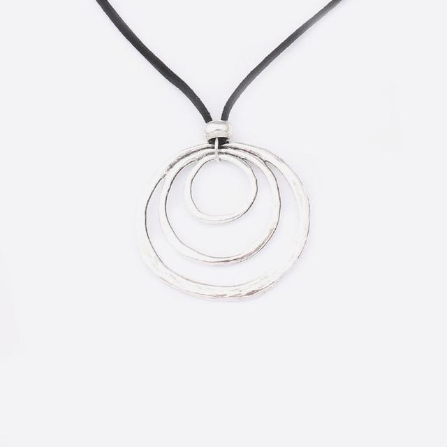1PCS Large Antique Silver 3 Circle Rings Charms Pendants Velet Cord Choker Lagenlook  1