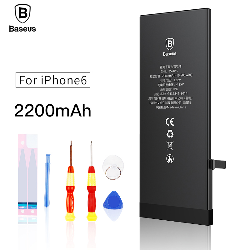 Original Baseus Lithium Polymer Battery For Apple iPhone 6 6G Internal Batteria High Capacity 2200mAh Free Tools Retail Package