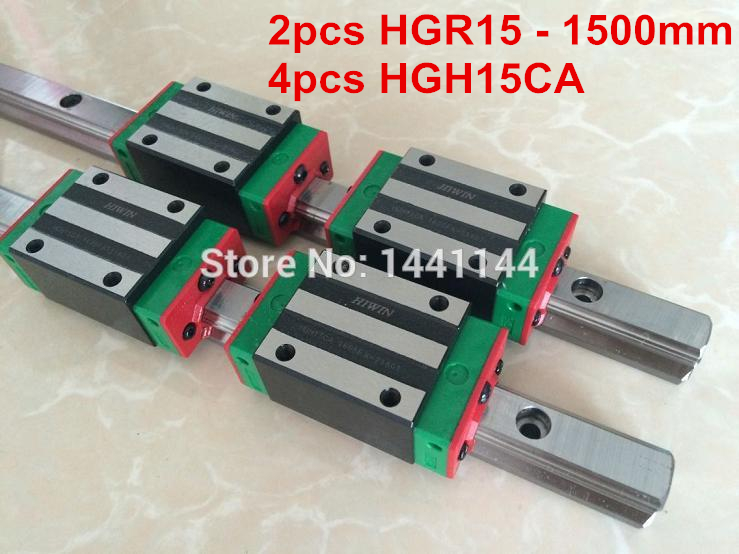 HGR15 HIWIN linear rail: 2pcs HIWIN HGR15 - 1500mm Linear guide + 4pcs HGH15CA Carriage CNC parts hiwin mgnr 1500mm hiwin mgr9 linear guide rail from taiwan