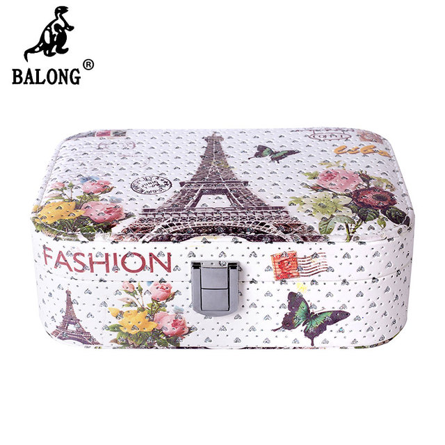 Wholesale 60pcslot Eiffel Tower Printed Jewelry Box Women Travel