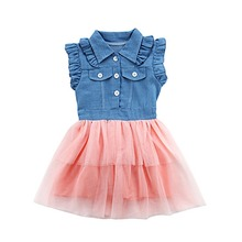 Kids Girl's Dress Cute Princess Ball Gown for Baby Girls Denim Sleeveless Tulle Mini Dresses 2-7Y cute baby girls pink princess dresses autumn summer party long sleeve 3d heart tulle tutu dress ball gown dresses 2 7y