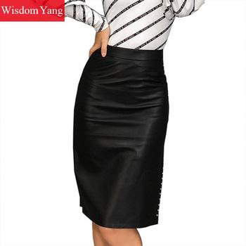 Black Real Genuine Leather Skirt Sheepskin High Waisted Midi Wrap Skirts Rivet Vent Women Bodycon Party Sexy Ladies Long Skirt darkinlove women gothic skirt butterfly embroideried high waisted sexy lace hem maxi dovetail wrap party skirt