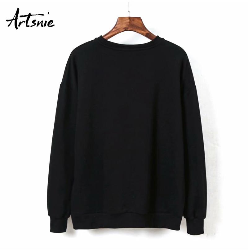 Artsnie Spring 19 Black Casual Knitted Sweatshirt Women O Neck Long Sleeve Loose Pullovers Letter Streetwear Sweatshirts Mujer 11