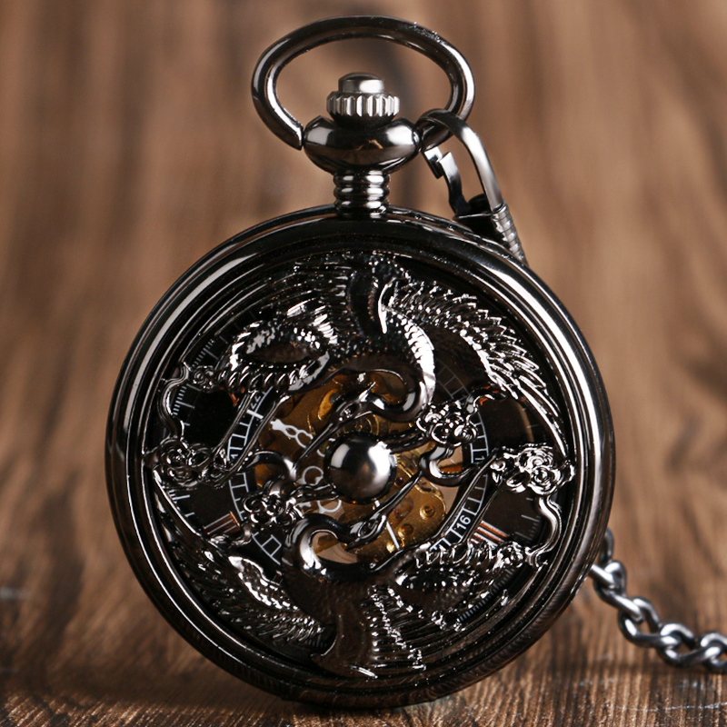Retro Chinese Style Steampunk Watches Cranes Design Hand Wind Pocket Watch Luxury Mechanical Movement Fashion Roman Number Dial