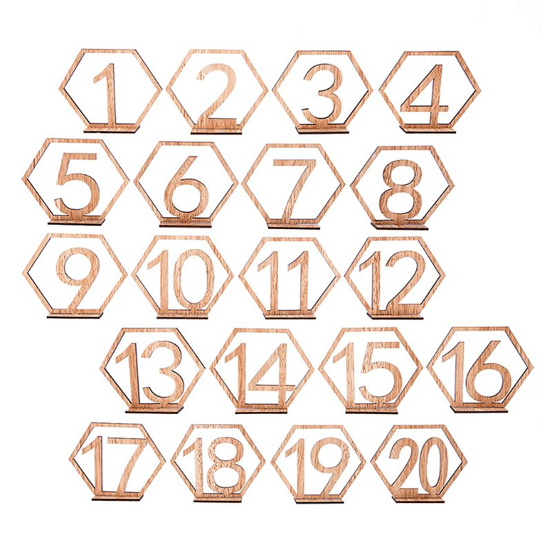 1-10//11-20 Wooden Set Table Numbers With Base Gifts Wedding Birthday Party Decor