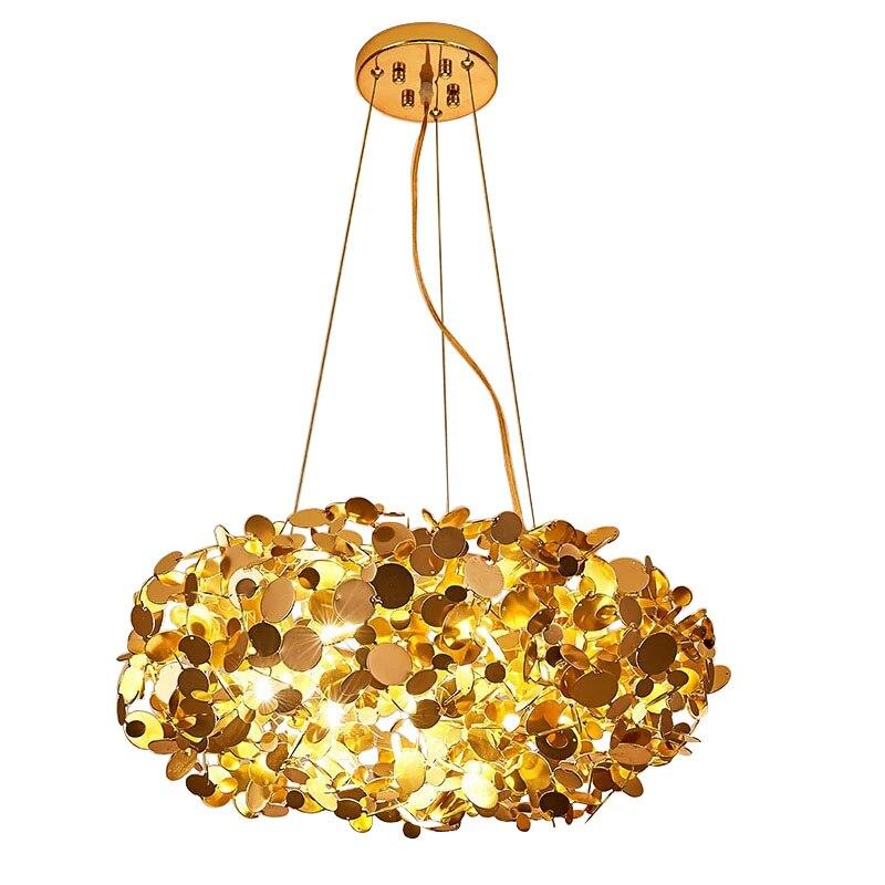 Poteau moderne pendentif lumière cercle net oiseau forme or couleur naturelle G9 led lampHanglamp postmodernisme vitrine originalité
