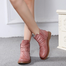 Large size genuine leather boots martin boots pink brown thick bottom women shoes handsome personality ankle boots