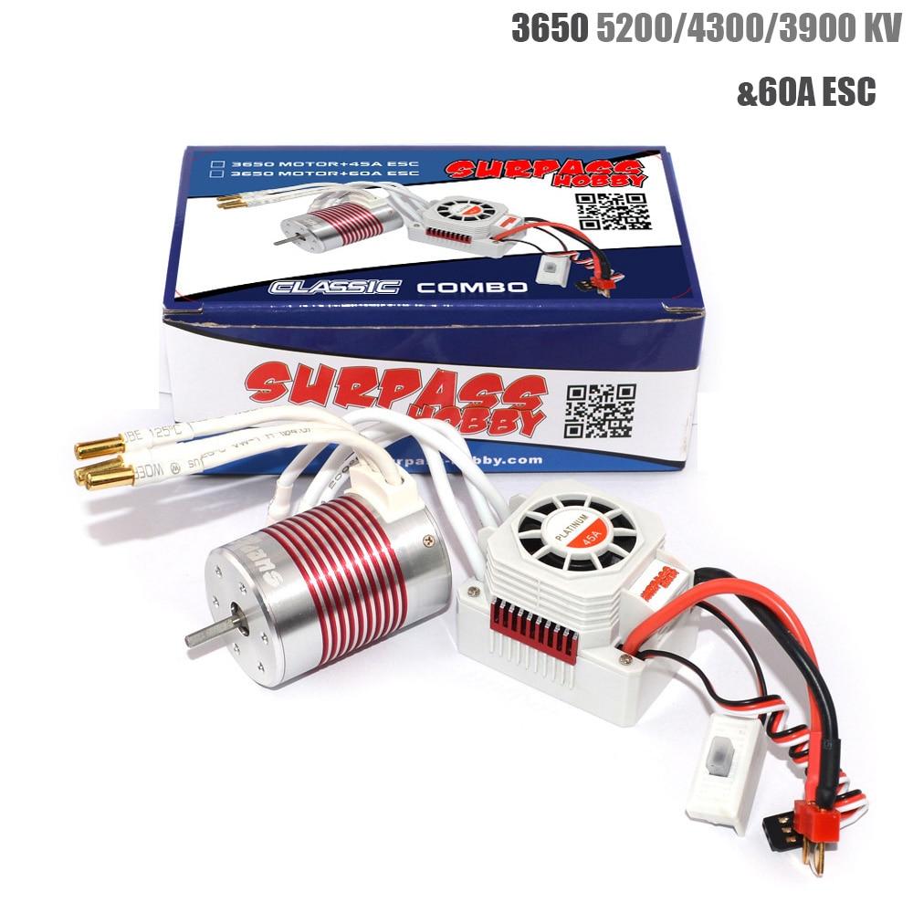 Platinum Waterproof 3650 4300KV 3900KV 5200KV Brushless Motor With 60A ESC Kit For 1/10 RC Car Truck Toy