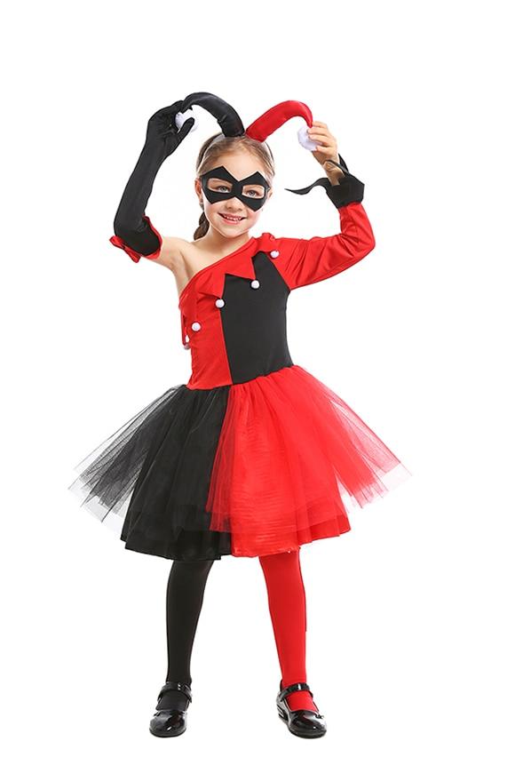 Girl Kids Halloween Harlequin Clown Costume Jester Fancy Dress Stocking Headband