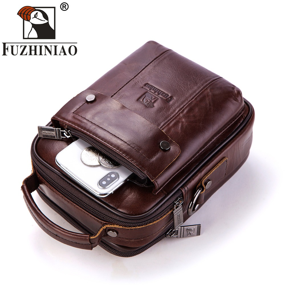 FUZHINIAO 100 Genuine Leather Messenger Bag Shoulder Men Male Crossbody Bag Tas Sling Tote Travel bag
