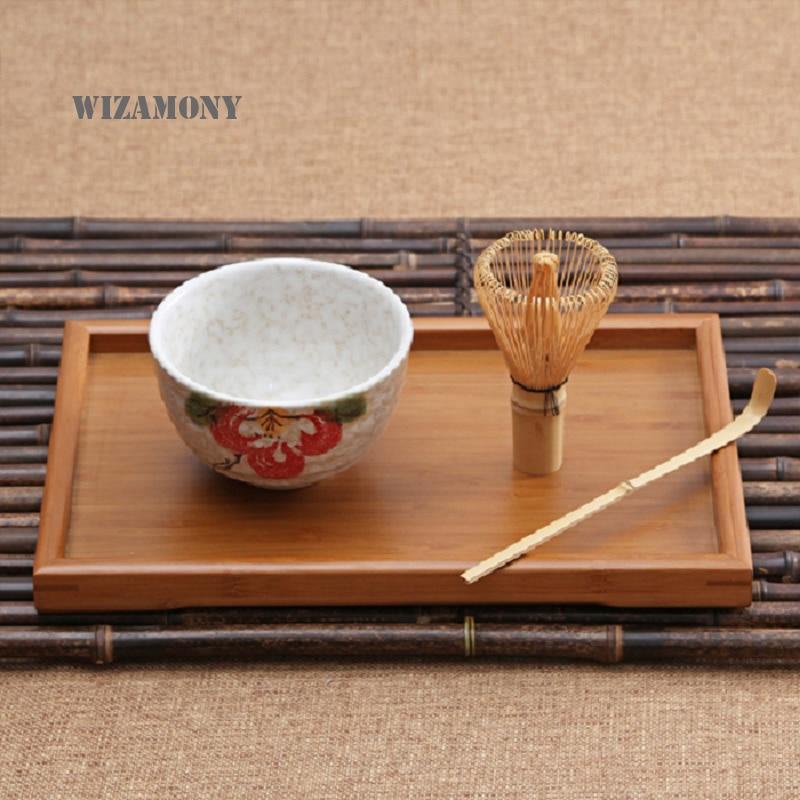 WIZAMONY 3pcs kompleti čajna slovesnost Matcha Keramična posodica za čaj Bambus Scoop Matcha Whisk Japonsko orodje za čaj Čajni set