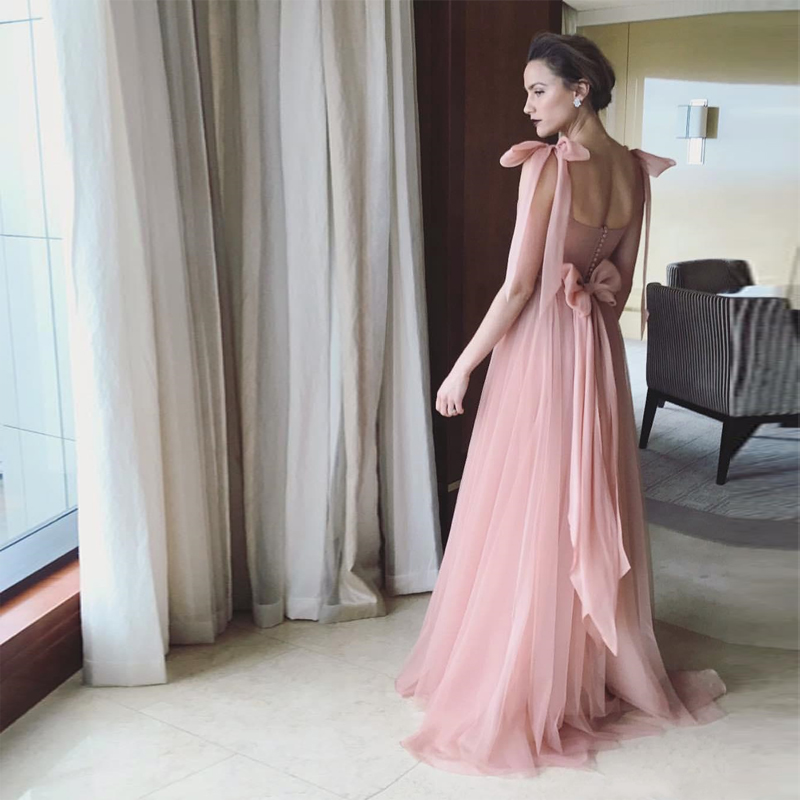 Verngo Beauty Dresses Evening Bow Tulle Formal Dress Pink long Dresses Evening Robe De Soirée Vestido Vongo in Evening Dresses from Weddings Events