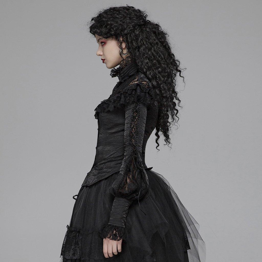 Steampunk Gothic Ronde Kraag Rozen Bloemen Flare Lange Mouw Zwart Sexy Kant Shirt Voor Vrouwen Punk Hol Swallow staart Shirt - 2