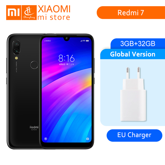 """חדש הגלובלי גרסת Xiaomi Redmi 7 3 GB 32 GB אוקטה Core Snapdragon 632 12MP כפולה מצלמה 6.26 """"נייד טלפון 4000 mAh גדול סוללה"""