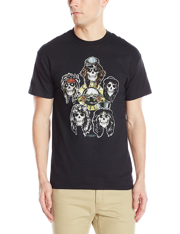 Cool T Shirts  Crew Neck Short-Sleeve Printing Hipst S Guns N Roses Heads Vintage Novelty Shirt For Men
