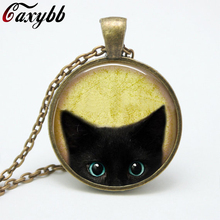 Vintage black cat glass pendant necklace personality pendnat Art picture necklace for women jewelry FTC N216