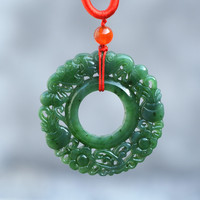 Certificate Natural Green HETIAN Jade Jasper Pendant Both Sides Hollow Out Round Toroidal Pendant Necklace