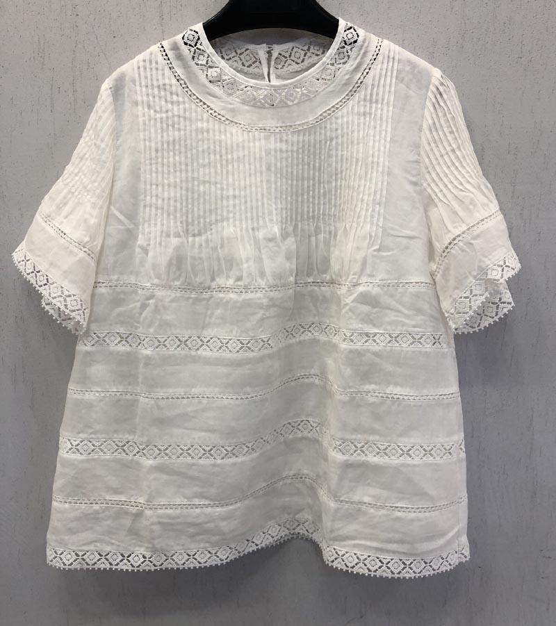 Kadın Giyim'ten Bluzlar ve Gömlekler'de Beyaz Siyah Pamuk Keten Bluz Üst Yuvarlak Boyun Işlemeli detay Ile pleats Kısa Flared Kollu'da  Grup 1