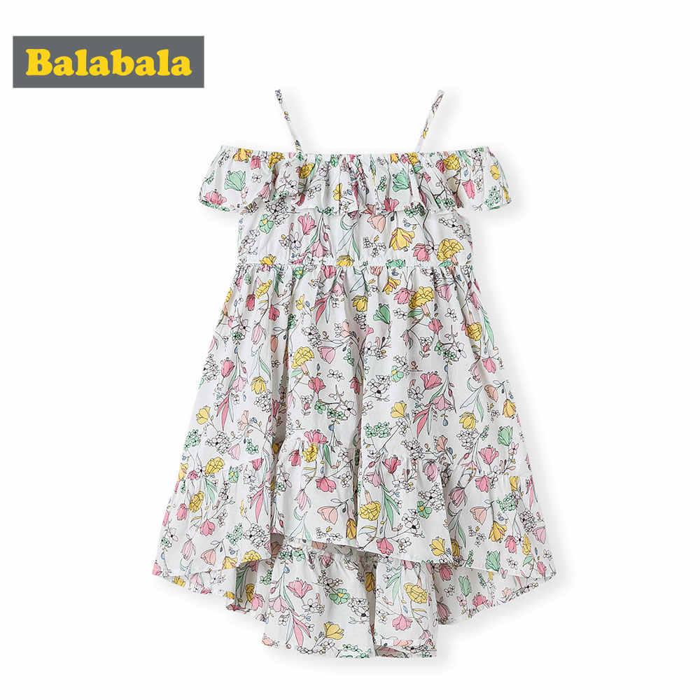 BalabalaChildren vestido floral roupas das meninas de verão 2019 novas crianças do bebê meninas vestido de algodão roupas da moda para a festa