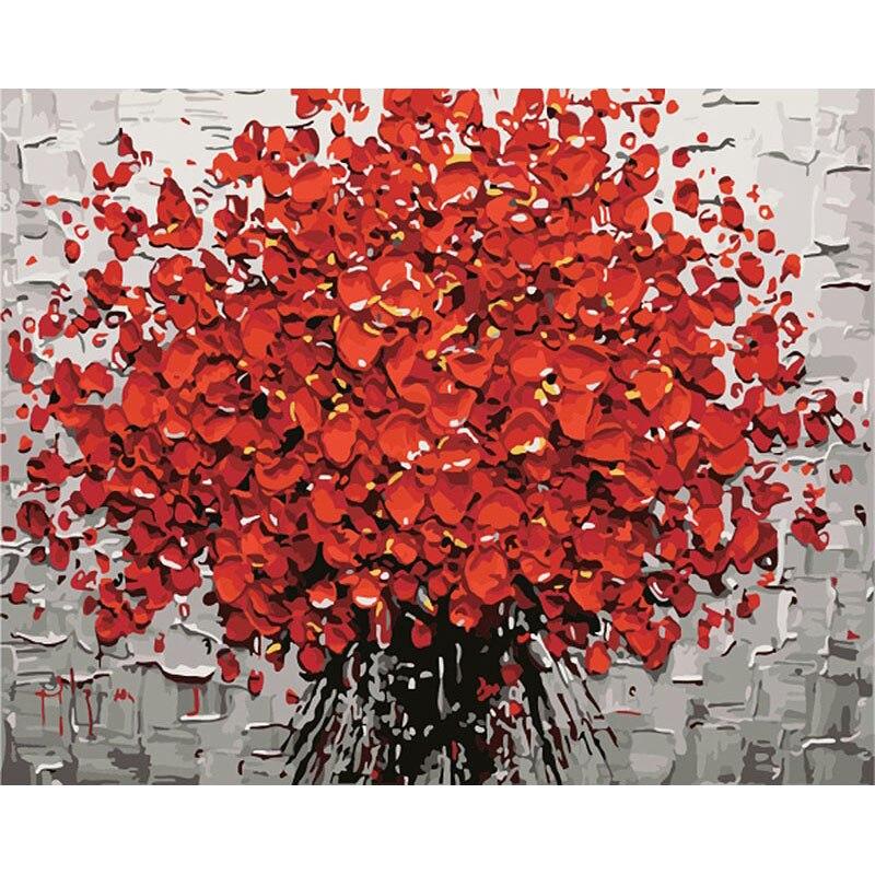 Frameless fiore rosso pittura by numbers fai da te digitale pittura acrilica astratta moderna di arte della parete della tela di canapa pittura per la decorazione domestica