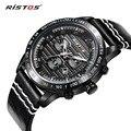 RISTOS Men Watch Top Brand Luxury Sport Quartz Watches Male Calendar Fashion Genuine Leather Wrist Watch Waterproof Relojes 2016