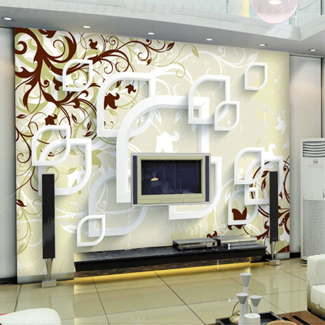 Large abstract wall murals 3d wallpaper for living room tv for Papel decorativo para pared
