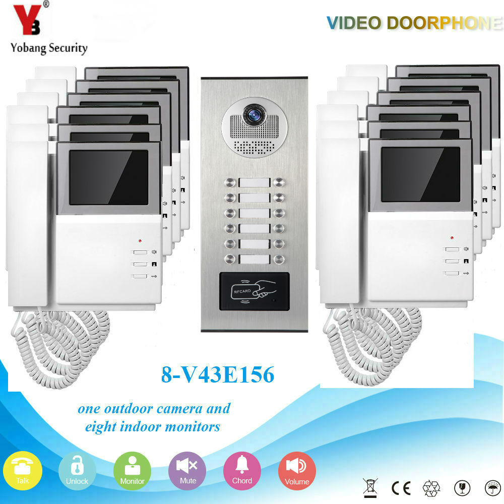 YobangSecurity 4.3 Inch Monitor Video Door Phone Doorbell Camera Video Intercom System RFID Access Control For 12 Unit Apartment yobangsecurity villa apartment eye door bell 7tft lcd color video door phone doorbell intercom system 1 camera 6 monitor