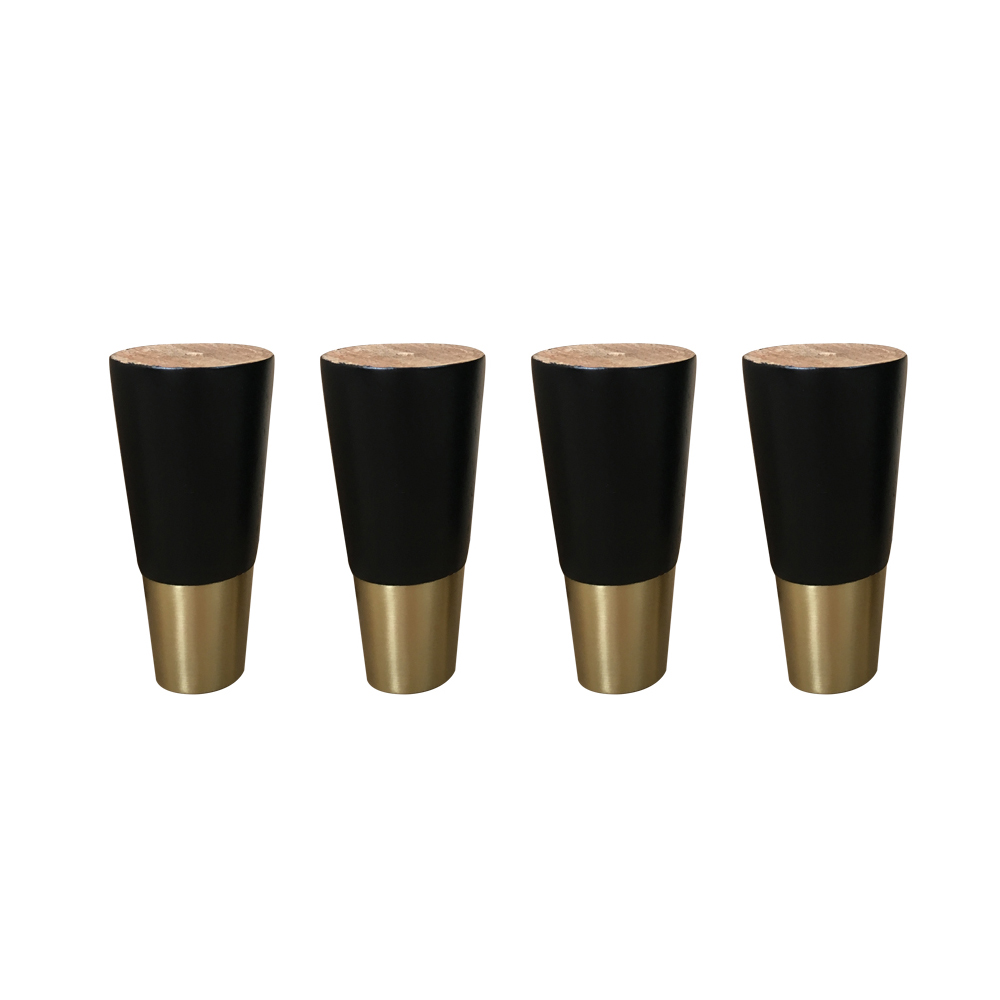4.8x10.5CM Simple Style Rubber Wood Legs Furniture Feet Table Cabinet Legs With Iron Plate And Screws