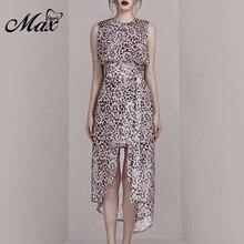 Max Spri 2019 New Fashion O Neck Sleeveless Bow Detail Leopard Chiffon Front Slit A-line Elegant Women Irregular Hemline Dress недорого