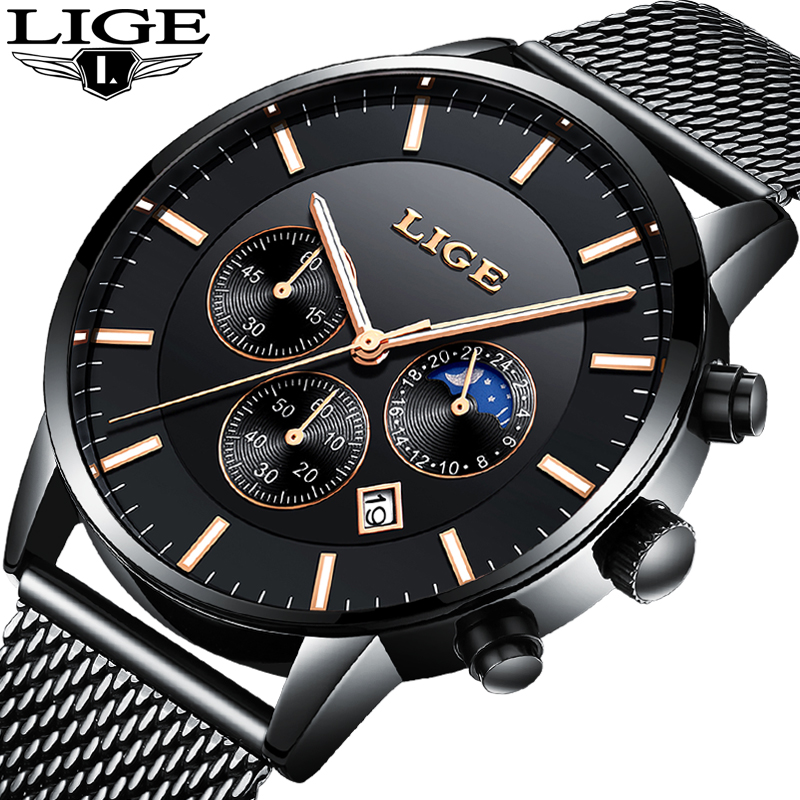 LIGE Fashion Simple Men Watch Top Brand Luxury Business Waterproof Quartz Watches Men Clock Male Sports watch relogio masculino цена и фото