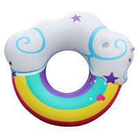 2018 New Inflatable Swim Rings with Cup Holder Rainbow Cloud Swimming Ring Pool Float Adult Water Circle Life Buoy Piscina