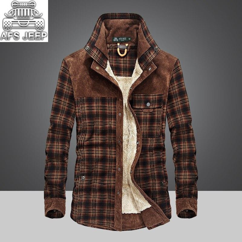 Зимние теплые для мужчин рубашки для мальчиков толстая подкладка плед плюс размеры бренд AFS джип 100% хлопок 2018 Новая ветровка повседневное