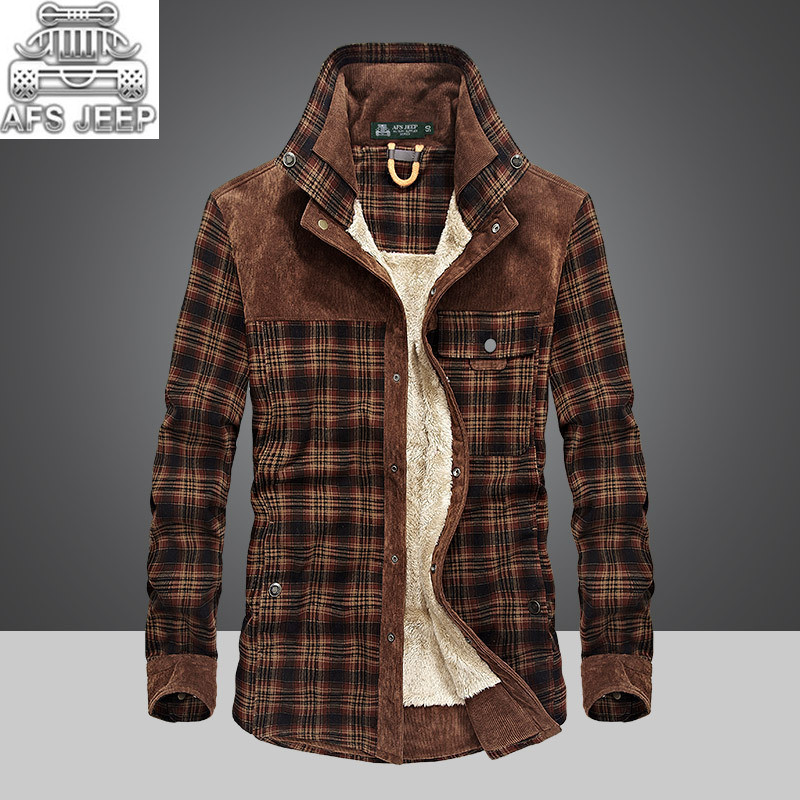 Winter Snow Warm Men Shirts Thick Lined Plaid Plus Size Brand Afs Jeep 100% Cotton New Windbreaker Casual Male Blouses