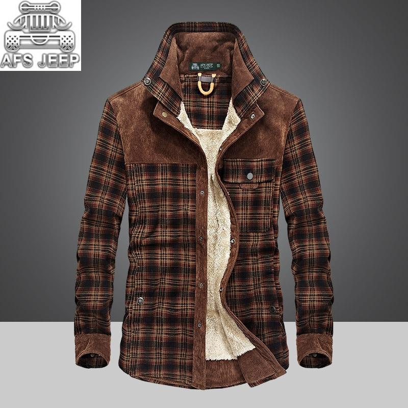 Winter Snow Warm Men Shirts Thick lined Plaid Plus Size 4XL