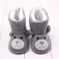 Winter Baby Snow Boots Warm Toddler Shoes Baby Girl Shoes Knitted Cartoon Bear First Walker Infant