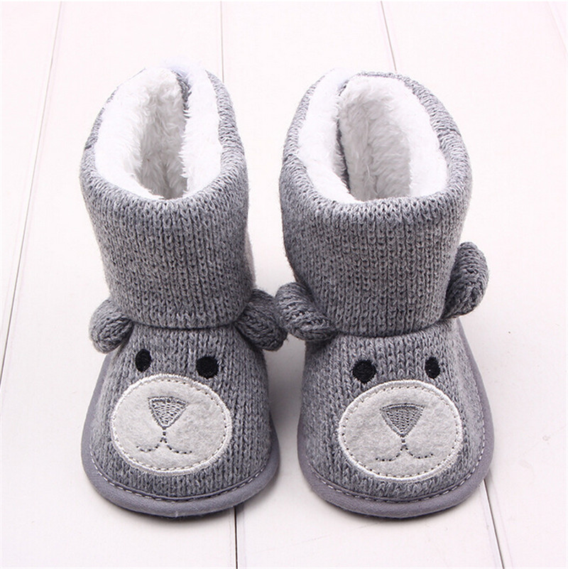 80e73fb98f431 US $6.3 |Winter Baby Snow Boots Warm Toddler shoes Baby Girl Shoes Knitted  Cartoon Bear first walker Infant Newborn Baby Shoes Footwear-in First ...