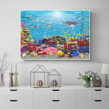 Laeacco Seascape Fish Sunshine Poster Print Abstract Canvas Painting Wall Art Nordic Home Decoration Living Room Decor No Frame