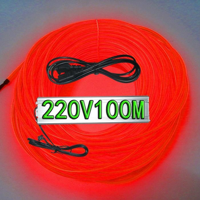 Red Color(ten Colors For Choosing)Diameter 5MM El  Wire 100 Meters+220V100 M El  Inverter
