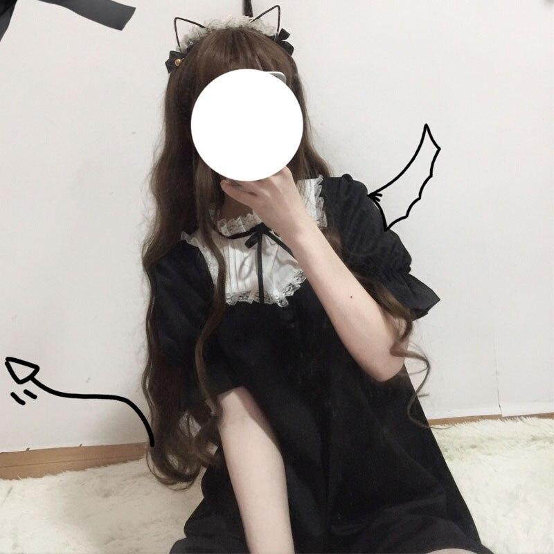 Lolita Dress Sweet Cute Kawaii Girls OP Princess Maid Vintage Ruffles Skirt Puff Sleeve Red Black Pink Women Skirt Round Collar
