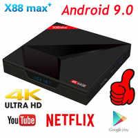 Android 9.0 TV Box 4GB RAM 64GB ROM X88 MAX PLUS RK3318 Quad Core TYPE-C 2,4G/5 ghz Dual WiFi BT4.0 4K Smart Set-Top Box PK 8,1