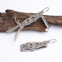 Key Ring Pocket Folding Knife 440C Blade Camping Survival Multifunctional Fruit Knives All Steel Handle Outdoor