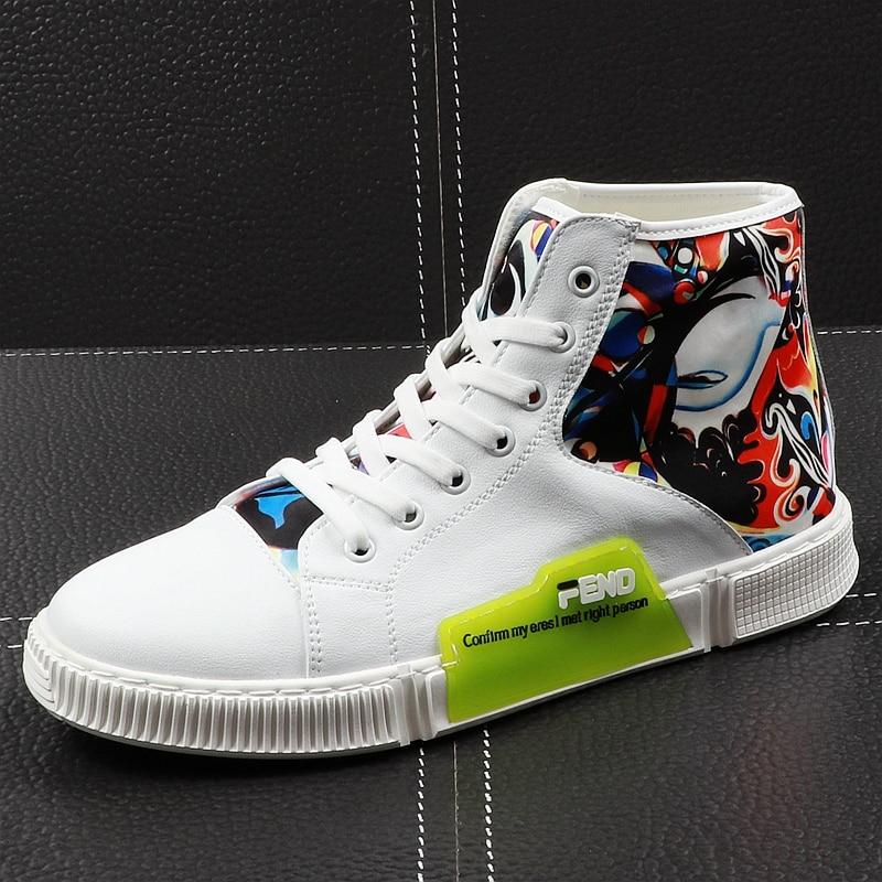 CuddlyIIPanda 2019 Mannen Nieuwe Mode Enkellaars Lente Herfst Jeugd Graffiti Hip Hop Leisure Schoenen Mannelijke Hoge Top Casual Sneakers-in Casual schoenen voor Mannen van Schoenen op  Groep 1
