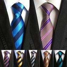 купить 2018 Fashion Strips Men Neck Ties 8 CM Business Meeting Important Day 1200 Needles Cravattes Pour Homme по цене 630.03 рублей