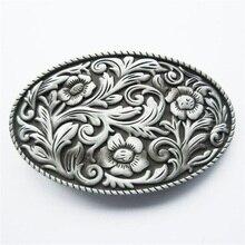 Jeansfriend New Vintage Western Cowboy Cowgirl Flower Oval Belt Buckle Gurtelschnalle Boucle de ceinture