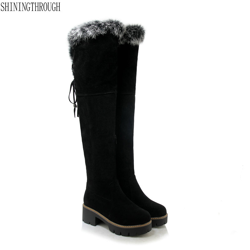New high heels women over the knee high snow boots platform ladies party boots plush winter warm shoes woman large size 43 new sexy women boots winter over the knee high boots party dress boots woman high heels snow boots women shoes large size 34 43