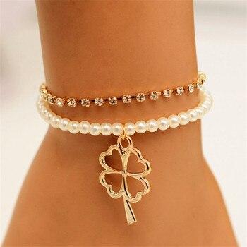 Lucky Four Leaf Clover Irish Good Luck Bracelet For Women