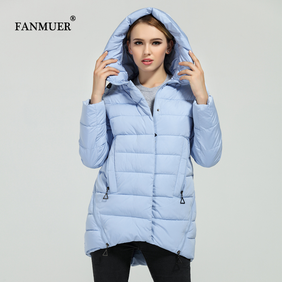 Fanmuer Polyester Soft Fabric Bio Down Five Colors Hooded Coat Woman Clothes Winter Jacket With Pockets