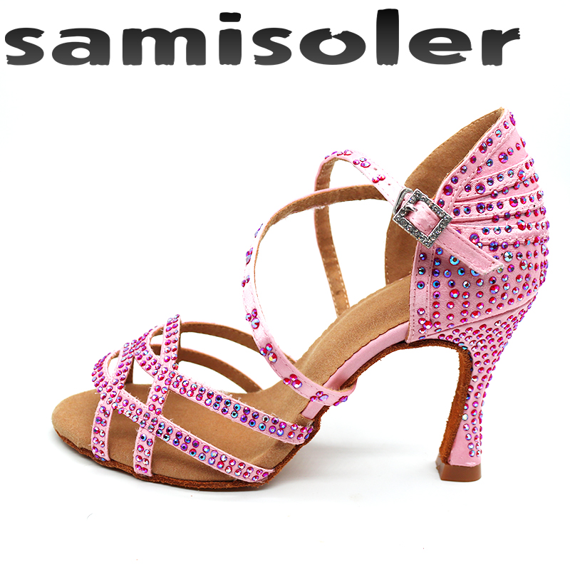 Samisoler 2019 New Latin Dance Shoesballroom Latin Dance Shoes Pink Rhinestone Ballroom Shoes Latce Shoes